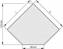 Sklo pod kamna - formát B 1000/1000/580-45° mm